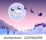 santa claus flying in his... | Shutterstock .eps vector #1229463298