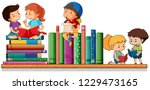 kids reading and playing with... | Shutterstock .eps vector #1229473165