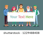 young people holding and... | Shutterstock .eps vector #1229488408