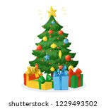 cartoon christmas tree with... | Shutterstock .eps vector #1229493502