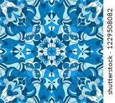 blue mandala seamless pattern... | Shutterstock .eps vector #1229508082