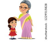 an old indian woman  granny is... | Shutterstock .eps vector #1229515828