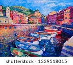 original oil painting. boats in ... | Shutterstock . vector #1229518015
