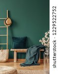 Small photo of Pillow and blanket on bench in green apartment interior with plant, pouf and hat on ladder. Real photo