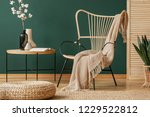 pouf in front of table with... | Shutterstock . vector #1229522812