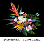 floral composition with fresh... | Shutterstock . vector #1229533282