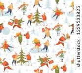 vector winter seamless pattern... | Shutterstock .eps vector #1229533825