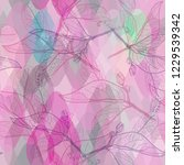 leaves contours  bright pink...   Shutterstock . vector #1229539342