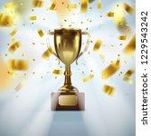 realistic golden trophy cup... | Shutterstock .eps vector #1229543242