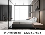 side view of modern bedroom... | Shutterstock . vector #1229567515