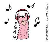 funny lama in the headphones.... | Shutterstock .eps vector #1229584678