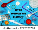say no to single use plastics... | Shutterstock . vector #1229590798
