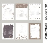 floral 2019 calendar. yearly... | Shutterstock .eps vector #1229591785