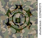 open lock icon on camouflaged...   Shutterstock .eps vector #1229609275
