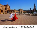 flamenco dancer in red dress... | Shutterstock . vector #1229624665