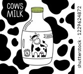 Stock vector vector black and white cow milk packaging template use this bottle model for disign label sticker 1229624872