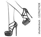 vector girls in high heels.... | Shutterstock .eps vector #1229627428