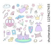 princess doodle set with hand... | Shutterstock .eps vector #1229627455