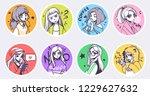 a set of cute anime girls... | Shutterstock .eps vector #1229627632