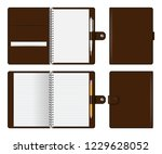 realistic brown notebook mockup ... | Shutterstock .eps vector #1229628052