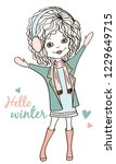 winter fashion joyfull girl... | Shutterstock .eps vector #1229649715