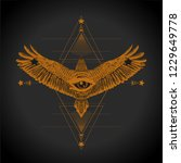 masonic symbol. all seeing eye... | Shutterstock .eps vector #1229649778