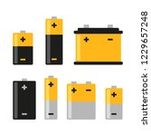 alkaline battery icons set on... | Shutterstock .eps vector #1229657248