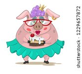 funny girl pig with cake | Shutterstock .eps vector #1229657872