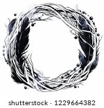 boho wreath of branches  beads... | Shutterstock . vector #1229664382