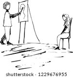 hand drawn  sketch. artist in... | Shutterstock .eps vector #1229676955