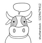 doodle sketch cow with chat... | Shutterstock .eps vector #1229679412