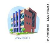 isometric university building.... | Shutterstock .eps vector #1229690365
