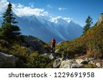 a man hiking on the famous tour ... | Shutterstock . vector #1229691958