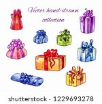 set of vector gifts in... | Shutterstock .eps vector #1229693278