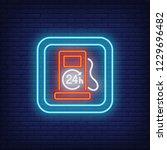 petrol filling station neon... | Shutterstock .eps vector #1229696482
