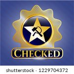 gold badge or emblem with... | Shutterstock .eps vector #1229704372