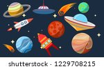 space  space with planets ... | Shutterstock .eps vector #1229708215