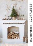 cozy fireplace corner christmas ... | Shutterstock . vector #1229715988