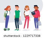 diverse college or university... | Shutterstock .eps vector #1229717338