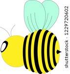 Stock vector left facing flying bumblebee 1229720602