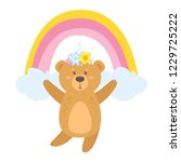 teddy bear cartoon with unicorn ... | Shutterstock .eps vector #1229725222
