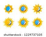 sun and moon rays set | Shutterstock .eps vector #1229737105