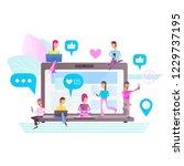 social media concept. young... | Shutterstock .eps vector #1229737195