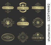 christmas labels and badges... | Shutterstock .eps vector #1229749492
