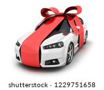 Stock photo car and red ribbon gift on white background d illustration 1229751658