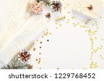 cozy holiday white background... | Shutterstock . vector #1229768452