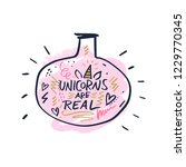 hand lettered unicorns are real ... | Shutterstock .eps vector #1229770345