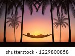 silhouette palm tree with woman ... | Shutterstock .eps vector #1229800858