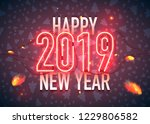 happy new year with neon sign... | Shutterstock .eps vector #1229806582