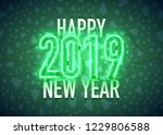 happy new year with neon sign... | Shutterstock .eps vector #1229806588